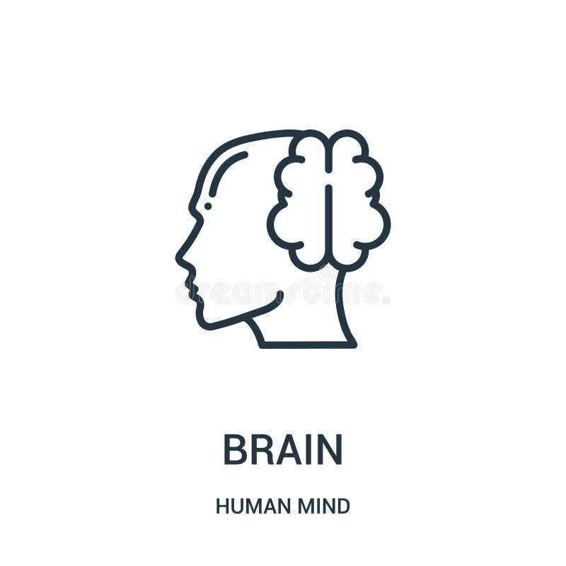 vetor do ícone do cérebro da coleção da mente humana Linha fina ilustração do vetor do ícone do esboço do cérebro Símbolo linear  ilustração stock