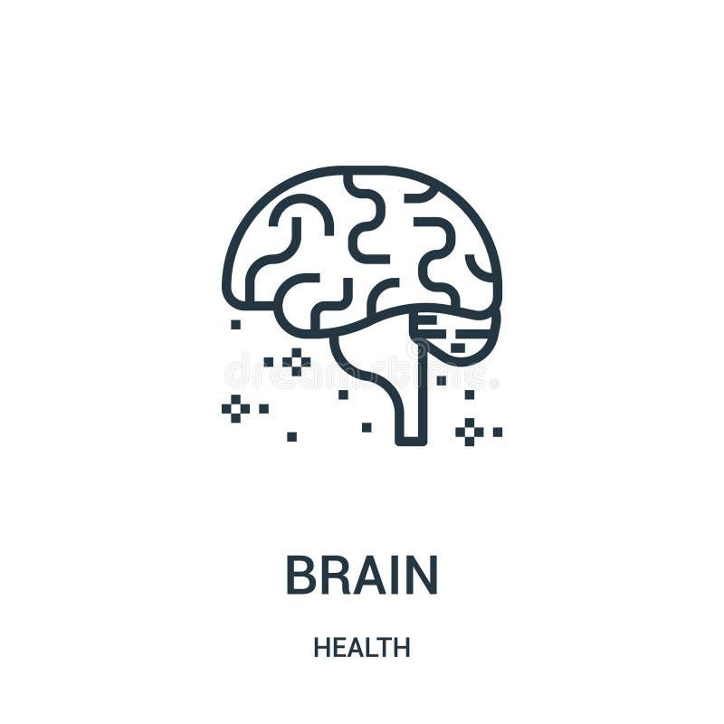 vetor do ícone do cérebro da coleção da saúde Linha fina ilustração do vetor do ícone do esboço do cérebro Símbolo linear para o  ilustração stock