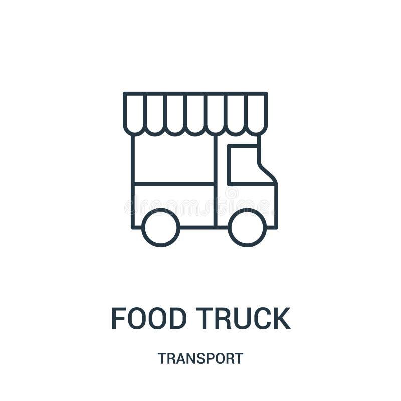 vetor do ícone do caminhão do alimento da coleção do transporte Linha fina ilustração do vetor do ícone do esboço do caminhão do  ilustração do vetor