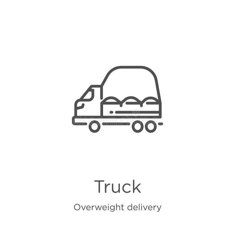vetor do ícone do caminhão da coleção excesso de peso da entrega Linha fina ilustra??o do vetor do ?cone do esbo?o do caminh?o Es ilustração do vetor