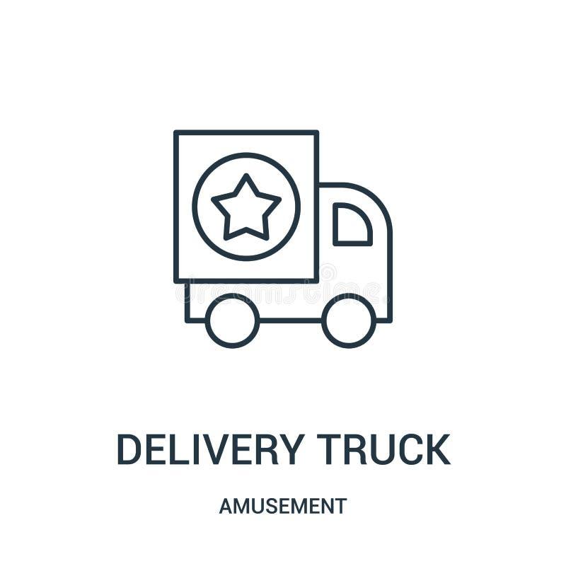 vetor do ícone do caminhão de entrega da coleção do divertimento Linha fina ilustra??o do vetor do ?cone do esbo?o do caminh?o de ilustração do vetor