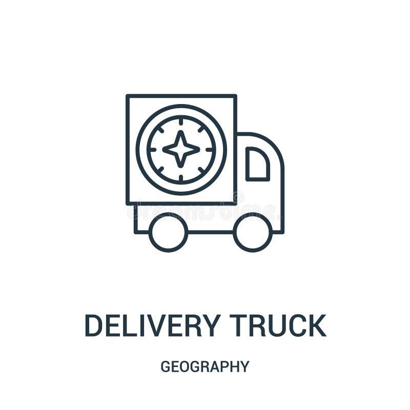 vetor do ícone do caminhão de entrega da coleção da geografia Linha fina ilustra??o do vetor do ?cone do esbo?o do caminh?o de en ilustração do vetor