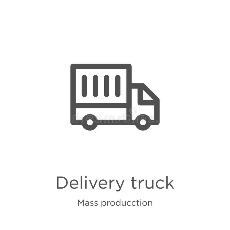 vetor do ícone do caminhão de entrega da coleção maciça do producction Linha fina ilustra??o do vetor do ?cone do esbo?o do camin ilustração royalty free