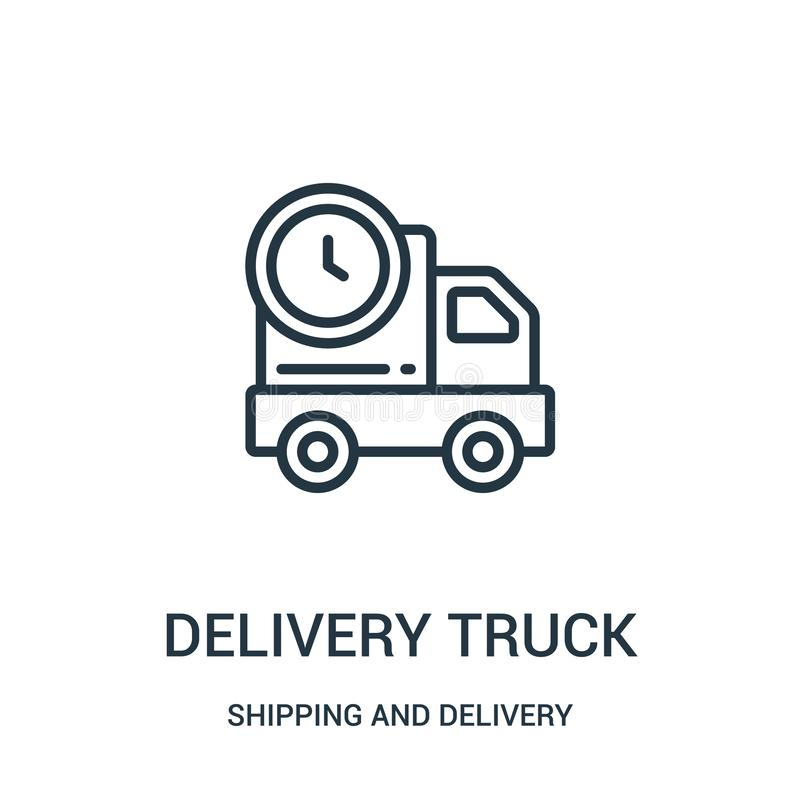 vetor do ícone do caminhão de entrega da coleção do transporte e da entrega Linha fina ilustração do vetor do ícone do esboço do  ilustração royalty free