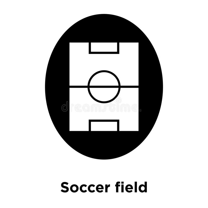 Vetor do ícone do campo de futebol isolado no fundo branco, logotipo concentrado ilustração do vetor