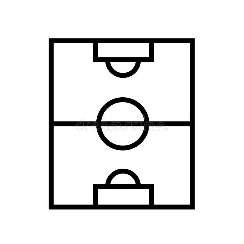 Vetor do ícone do campo de futebol isolado no fundo branco, no sinal do campo de futebol, no símbolo linear e nos elementos do pr ilustração stock