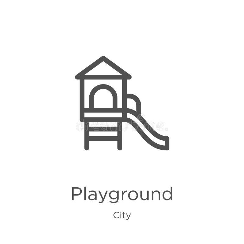 vetor do ícone do campo de jogos da coleção da cidade Linha fina ilustração do vetor do ícone do esboço do campo de jogos Esboço, ilustração royalty free