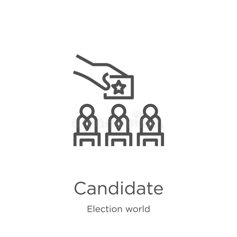 vetor do ícone do candidato da coleção do mundo da eleição Linha fina ilustração do vetor do ícone do esboço do candidato Esboço, ilustração royalty free