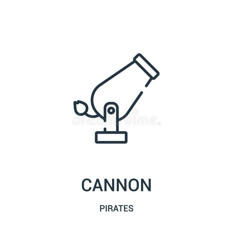 vetor do ícone do canhão da coleção dos piratas Linha fina ilustração do vetor do ícone do esboço do canhão Símbolo linear para o ilustração stock