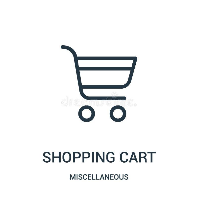 vetor do ícone do carrinho de compras da coleção variada Linha fina ilustração do vetor do ícone do esboço do carrinho de compras ilustração do vetor