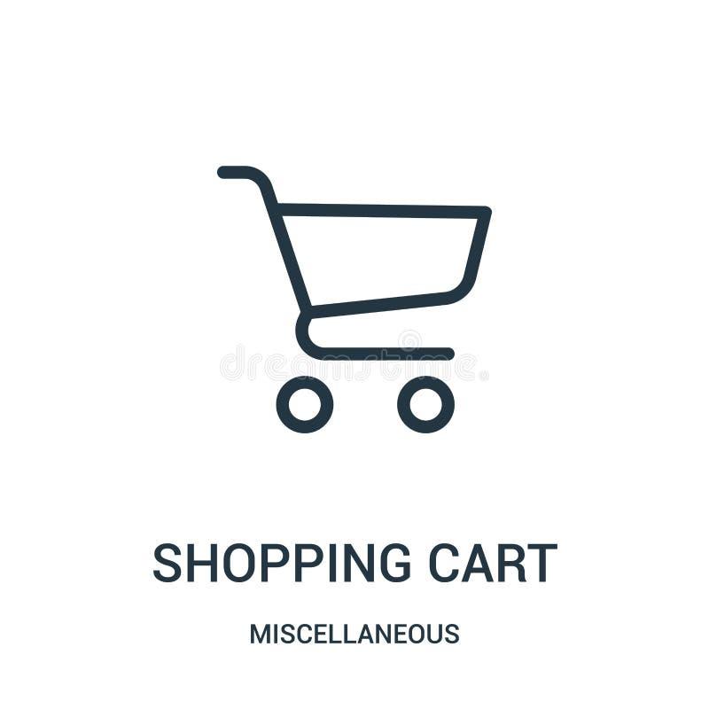 vetor do ícone do carrinho de compras da coleção variada Linha fina ilustração do vetor do ícone do esboço do carrinho de compras ilustração stock