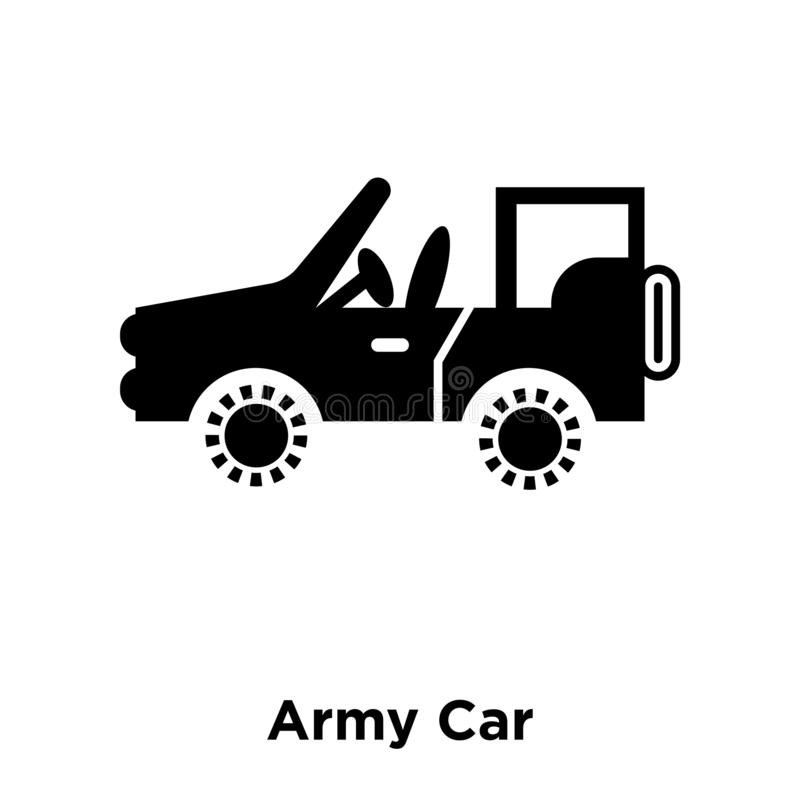 Vetor do ícone do carro do exército isolado no fundo branco, conceito do logotipo ilustração stock