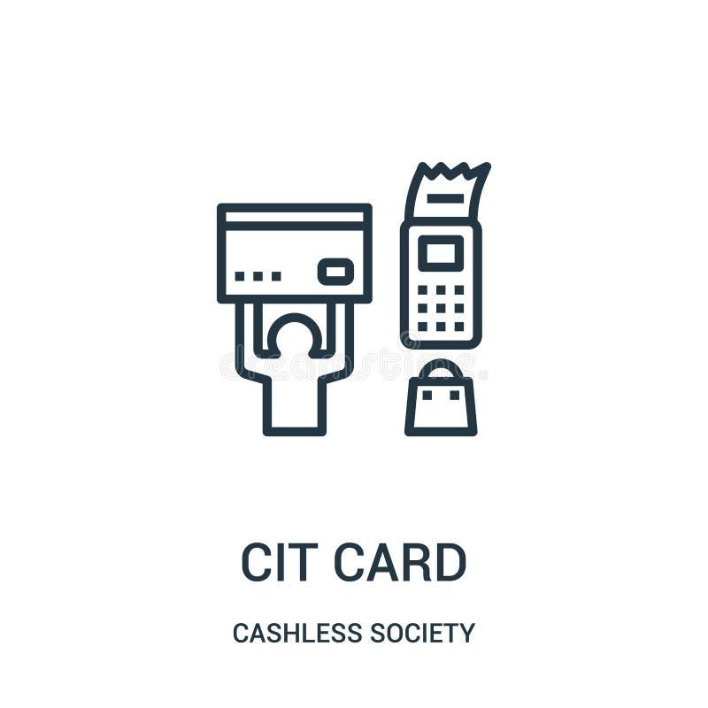 vetor do ícone do cartão de crédito da coleção cashless da sociedade Linha fina ilustração do vetor do ícone do esboço do cartão  ilustração do vetor