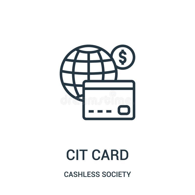vetor do ícone do cartão de crédito da coleção cashless da sociedade Linha fina ilustração do vetor do ícone do esboço do cartão  ilustração stock