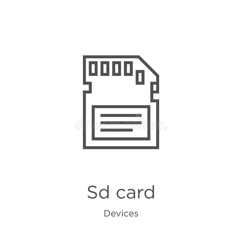 vetor do ícone do cartão do sd da coleção dos dispositivos Linha fina ilustra??o do vetor do ?cone do esbo?o do cart?o do sd Esbo ilustração stock