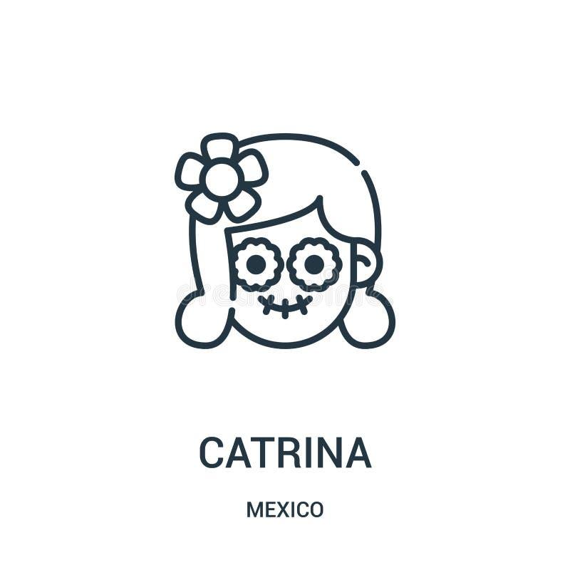 vetor do ícone do catrina da coleção de México Linha fina ilustração do vetor do ícone do esboço do catrina ilustração do vetor