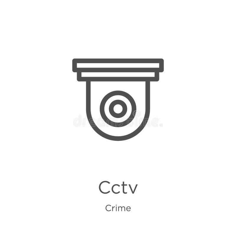 vetor do ícone do cctv da coleção do crime Linha fina ilustra??o do vetor do ?cone do esbo?o do cctv Esboço, linha fina ícone do  ilustração stock