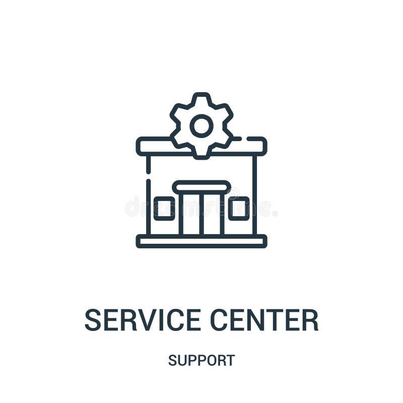vetor do ícone do centro de serviço da coleção do apoio Linha fina ilustração do vetor do ícone do esboço do centro de serviço r ilustração royalty free