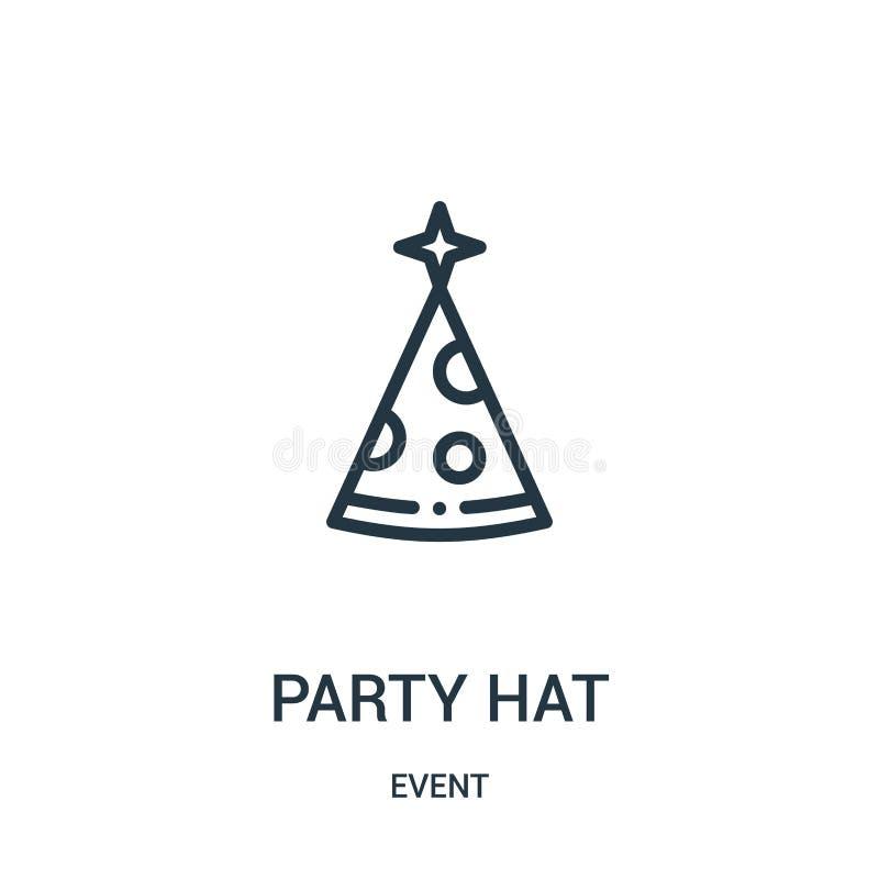 vetor do ícone do chapéu do partido da coleção do evento Linha fina ilustração do vetor do ícone do esboço do chapéu do partido ilustração stock