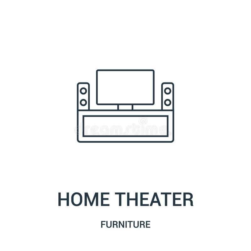 vetor do ícone do cinema em casa da coleção da mobília Linha fina ilustração do vetor do ícone do esboço do cinema em casa Símbol ilustração do vetor