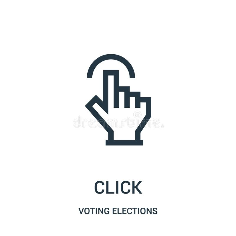vetor do ícone do clique da coleção de votação das eleições Linha fina ilustração do vetor do ícone do esboço do clique ilustração do vetor