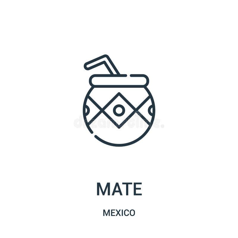 vetor do ícone do companheiro da coleção de México Linha fina ilustração do vetor do ícone do esboço do companheiro ilustração do vetor