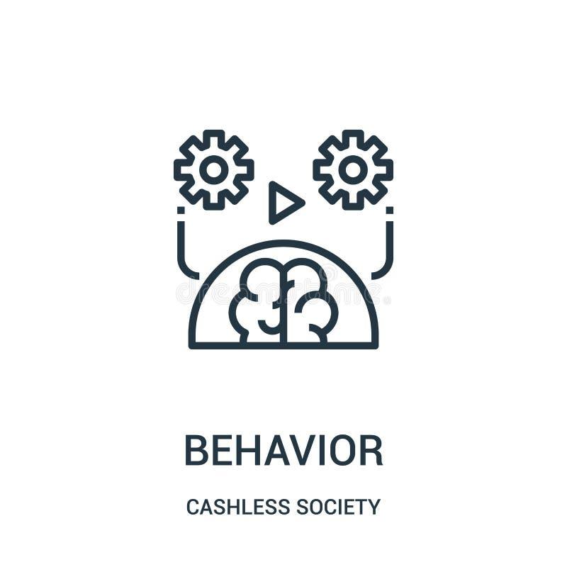 vetor do ícone do comportamento da coleção cashless da sociedade Linha fina ilustração do vetor do ícone do esboço do comportamen ilustração do vetor