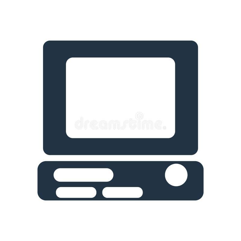 Vetor do ícone do computador isolado no fundo branco, sinal do computador ilustração royalty free