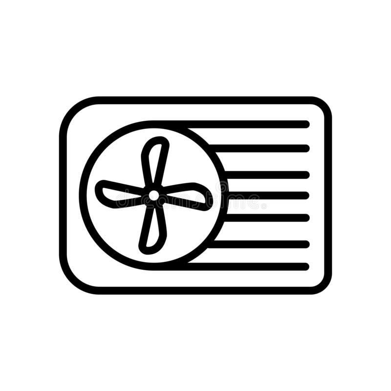 Vetor do ícone do condicionador de ar isolado no fundo, no sinal do condicionador de ar, na linha e nos elementos brancos do esbo ilustração do vetor