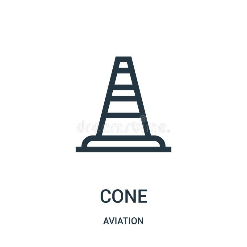vetor do ícone do cone da coleção da aviação Linha fina ilustração do vetor do ícone do esboço do cone Símbolo linear para o uso  ilustração do vetor