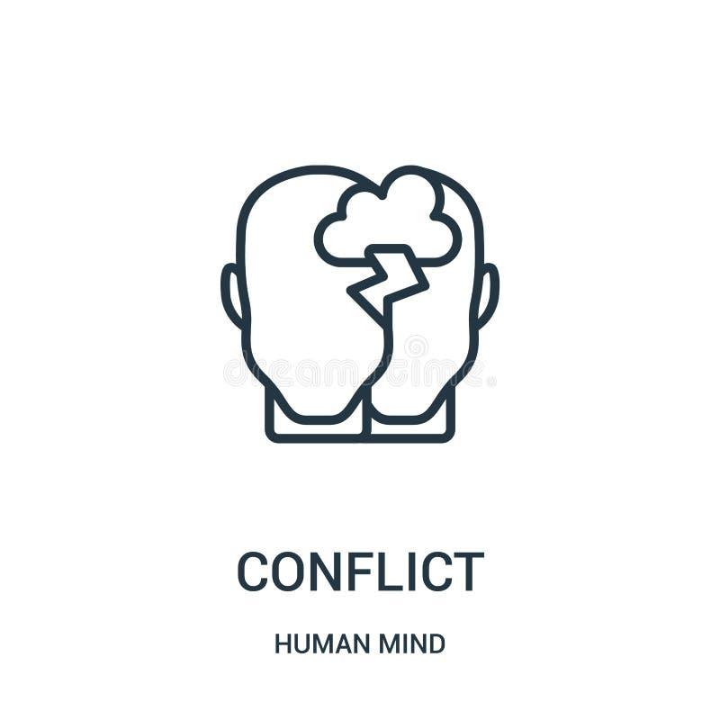 vetor do ícone do conflito da coleção da mente humana Linha fina ilustração do vetor do ícone do esboço do conflito Símbolo linea ilustração do vetor