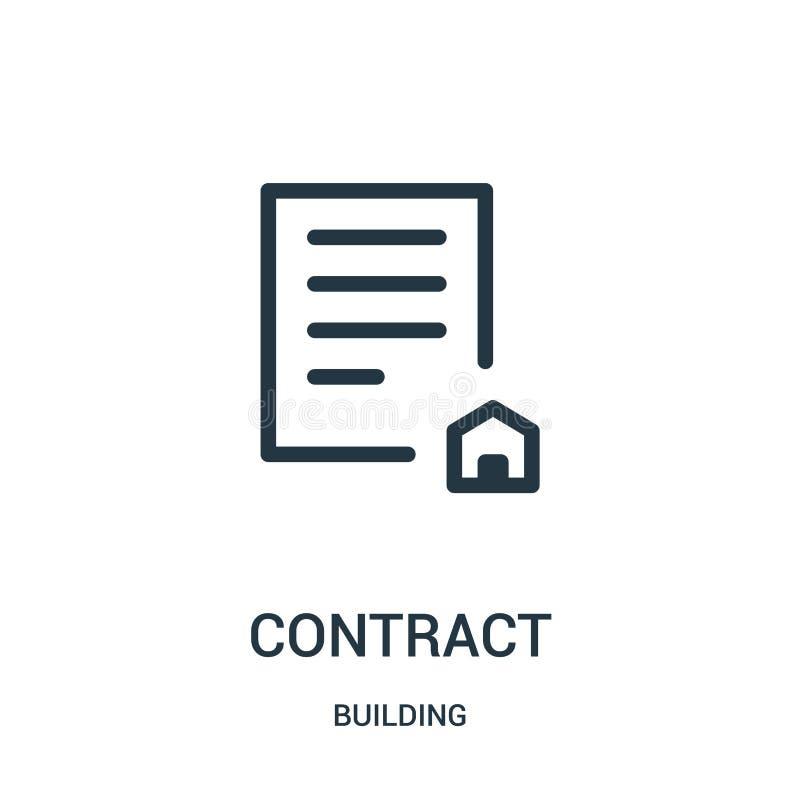 vetor do ícone do contrato da coleção da construção Linha fina ilustra??o do vetor do ?cone do esbo?o do contrato ilustração do vetor