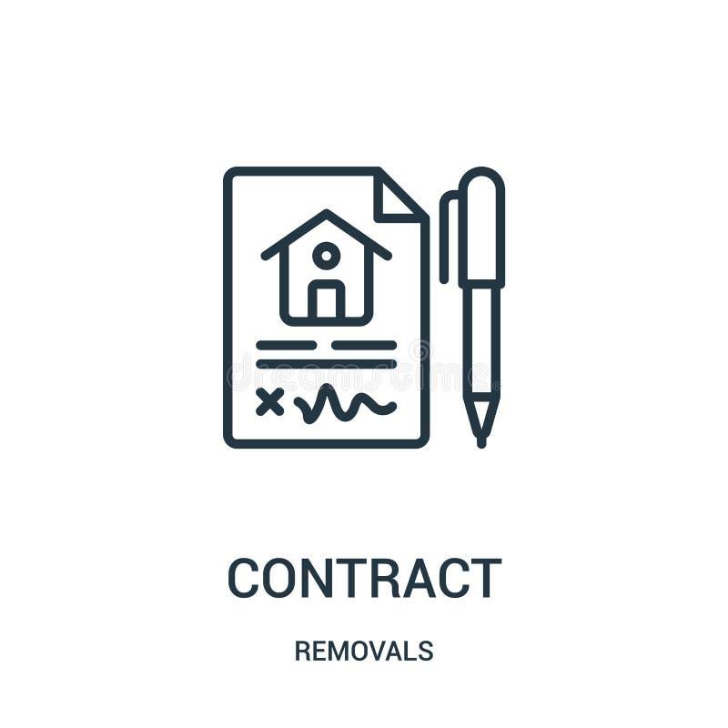 vetor do ícone do contrato da coleção das remoções Linha fina ilustração do vetor do ícone do esboço do contrato Símbolo linear p ilustração do vetor