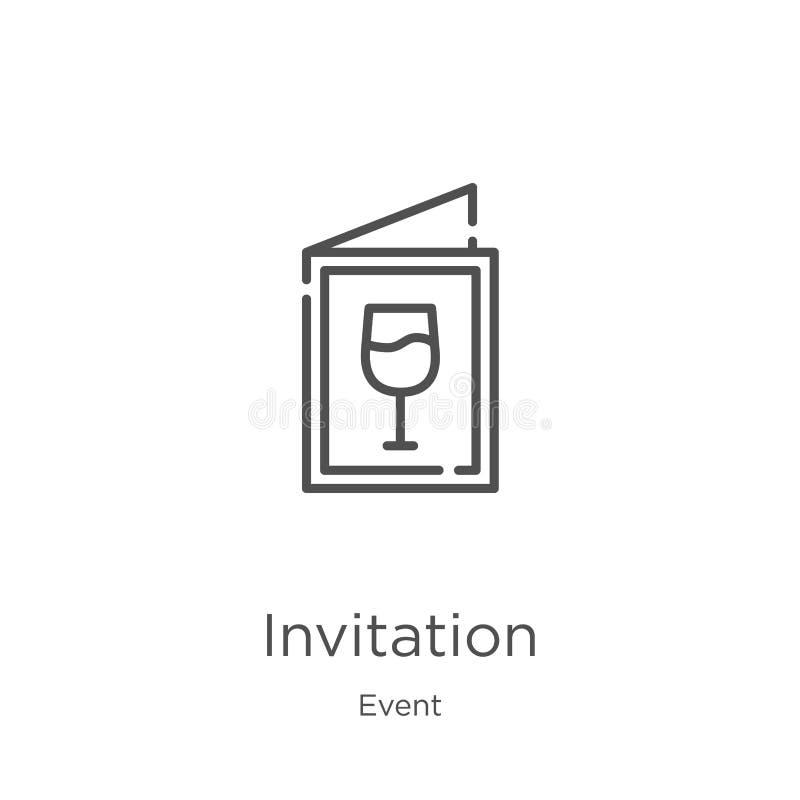 vetor do ícone do convite da coleção do evento Linha fina ilustração do vetor do ícone do esboço do convite Esboço, linha fina co ilustração do vetor