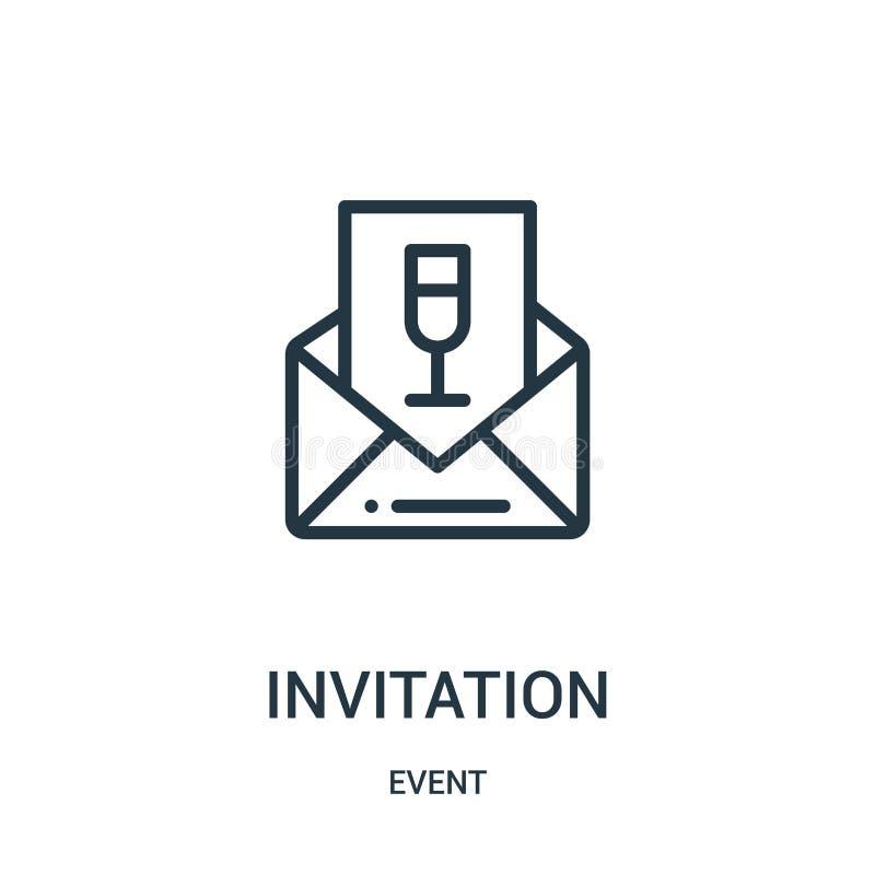 vetor do ícone do convite da coleção do evento Linha fina ilustração do vetor do ícone do esboço do convite ilustração royalty free