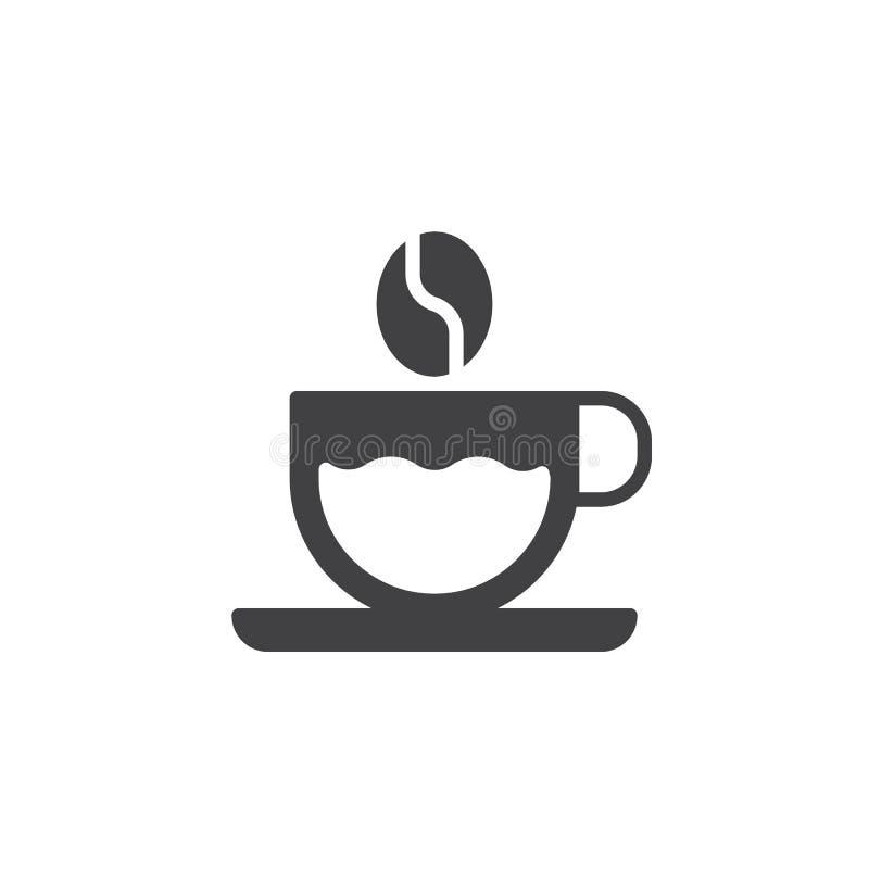 Vetor do ícone do copo de café e do feijão de café ilustração stock