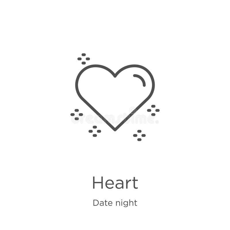 vetor do ícone do coração da coleção da noite da data Linha fina ilustração do vetor do ícone do esboço do coração Esboço, linha  ilustração stock