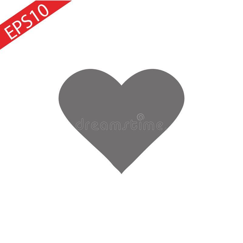 Vetor do ícone do coração Símbolo do amor Sinal do dia do Valentim s, emblema isolado no fundo branco com sombra, estilo liso par ilustração royalty free