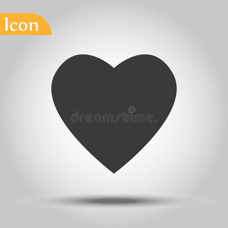 Vetor do ícone do coração Símbolo perfeito do amor Sinal do dia do Valentim s, emblema isolado no fundo branco com sombra, estilo ilustração royalty free