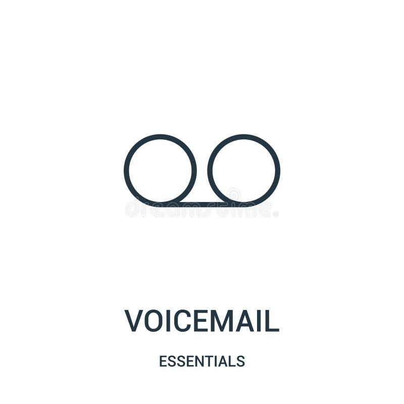 vetor do ícone do correio de voz da coleção dos fundamentos Linha fina ilustração do vetor do ícone do esboço do correio de voz S ilustração stock
