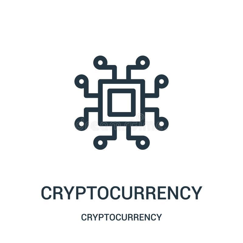vetor do ícone do cryptocurrency da coleção do cryptocurrency Linha fina ilustração do vetor do ícone do esboço do cryptocurrency ilustração stock