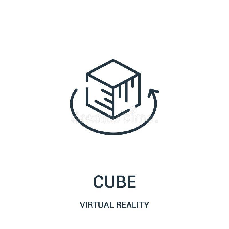 vetor do ícone do cubo da coleção da realidade virtual Linha fina ilustra??o do vetor do ?cone do esbo?o do cubo ilustração stock