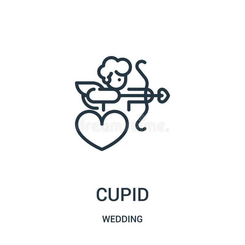 vetor do ícone do cupido da coleção do casamento Linha fina ilustração do vetor do ícone do esboço do cupido Símbolo linear para  ilustração do vetor