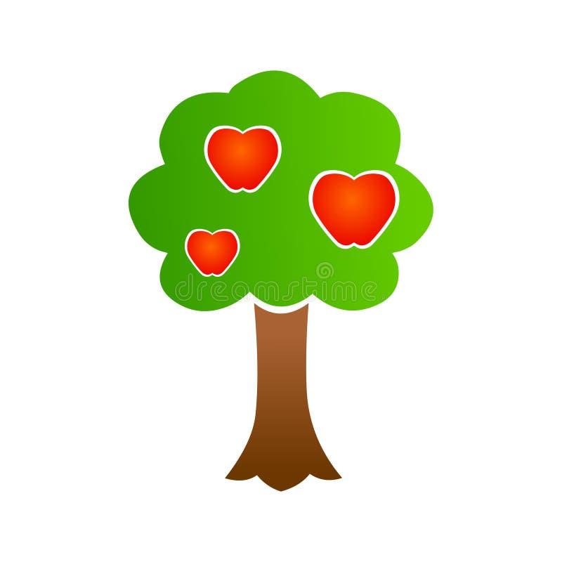 Vetor do ícone da árvore de Apple Logotipo da árvore ilustração stock