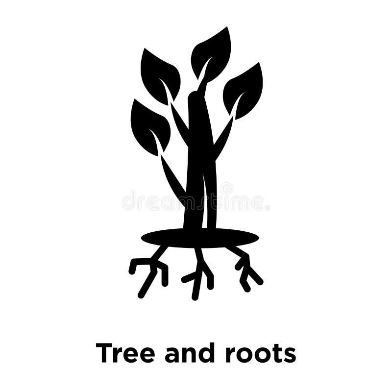 Vetor do ícone da árvore e das raizes isolado no fundo branco, logotipo co ilustração do vetor
