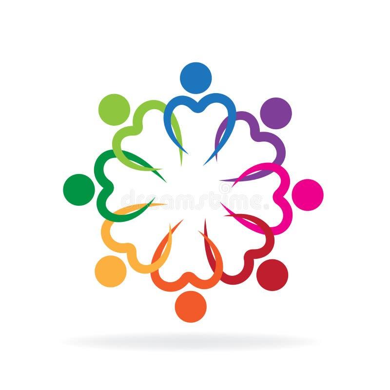 Vetor do ícone da amizade da caridade da unidade do símbolo do coração do amor dos trabalhos de equipa do logotipo ilustração do vetor