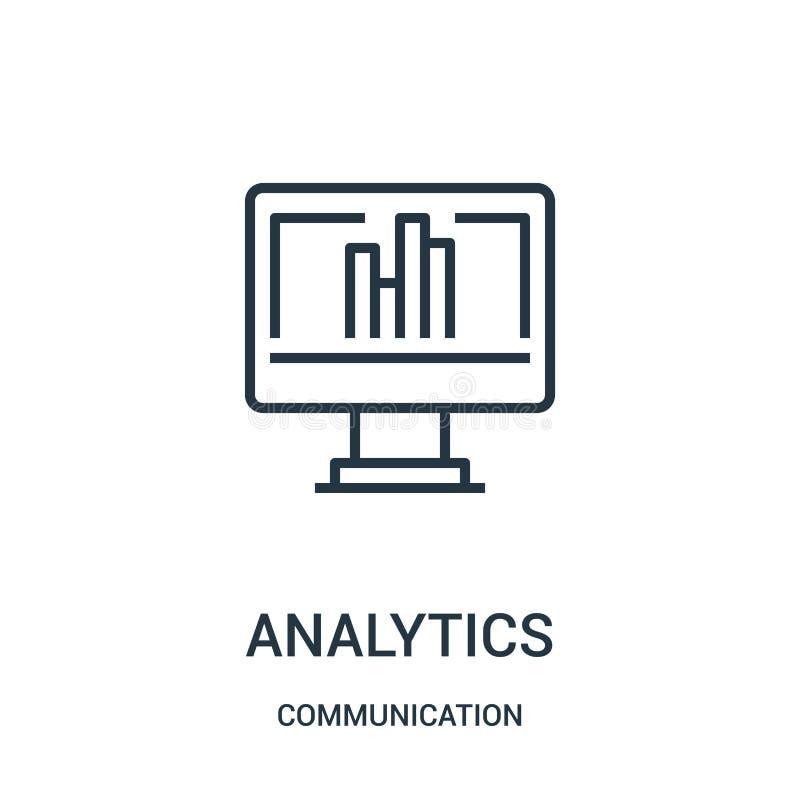 vetor do ícone da analítica da coleção de uma comunicação Linha fina ilustração do vetor do ícone do esboço da analítica Símbolo  ilustração stock