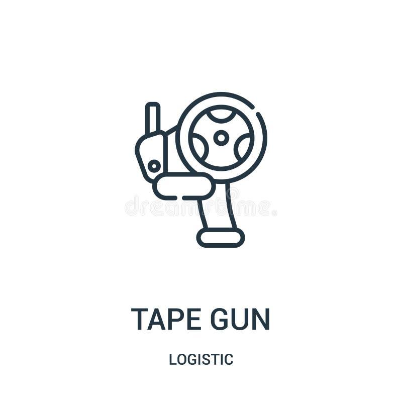 vetor do ícone da arma da fita da coleção logística Linha fina ilustração do vetor do ícone do esboço da arma da fita ilustração stock