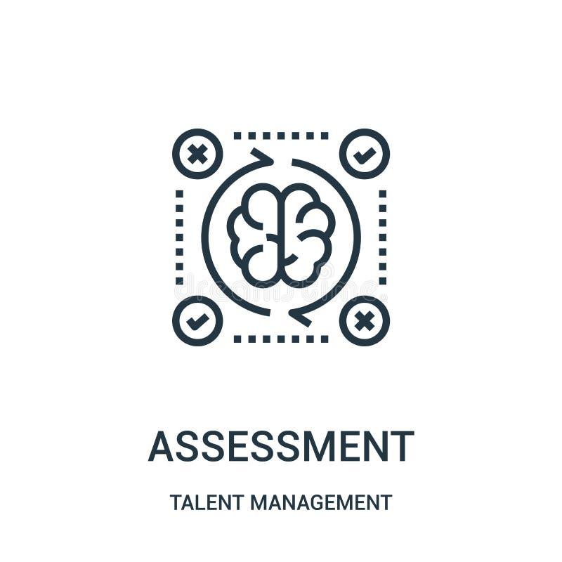 vetor do ícone da avaliação da coleção da gestão do talento Linha fina ilustração do vetor do ícone do esboço da avaliação ilustração do vetor