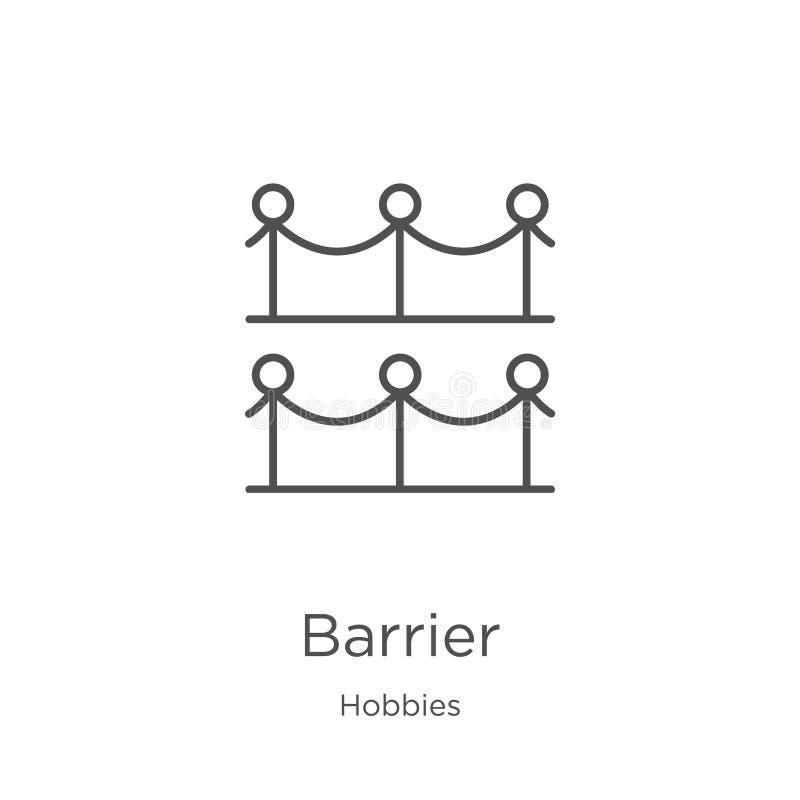 vetor do ícone da barreira da coleção dos passatempos Linha fina ilustração do vetor do ícone do esboço da barreira Esboço, linha ilustração stock